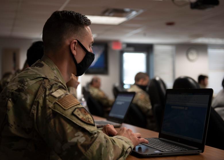 Tech. Sgt. James Kelley, 333rd Aircraft Maintenance Unit tactical aircraft maintenance craftsman, attends an Excel class at Seymour Johnson Air Force Base, North Carolina, Nov. 2, 2020.