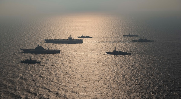 Ships from the Royal Australian Navy, Indian navy, Japan Maritime Self-Defense Force, and the United States Navy participate in Malabar 2020.