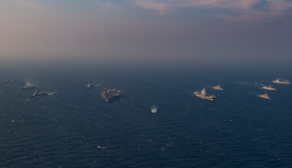 NORTH ARABIAN SEA (Nov. 17, 2020) Ships from the Royal Australian Navy, Indian Navy, Japanese Maritime Self-Defense Force, and the United States Navy participate in Malabar 2020. Malabar 2020 is the latest in a continuing series of exercises that has grown in scope and complexity over the years to address the variety of shared threats to maritime security in the Indo-Asia Pacific where the U.S. Navy has patrolled for more than 70 years promoting regional peace and security. Nimitz Carrier Strike Group is currently deployed to the 7th Fleet area of operations in support of a free and open Indo-Pacific.