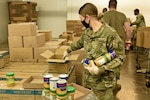 Michigan National Guard Soldiers with Michigan's Task Force Spartan work with Gleaners of Pontiac, Michigan, Community Food Bank on Nov. 4, 2020. Since March, Michigan National Guard teams have supported food banks across Michigan.