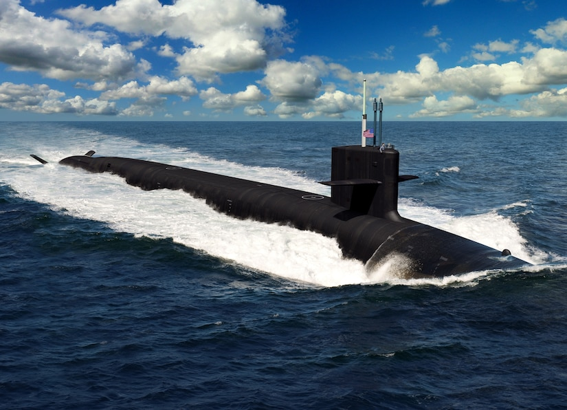 An artist rendering of the future Columbia-class ballistic missile submarines.