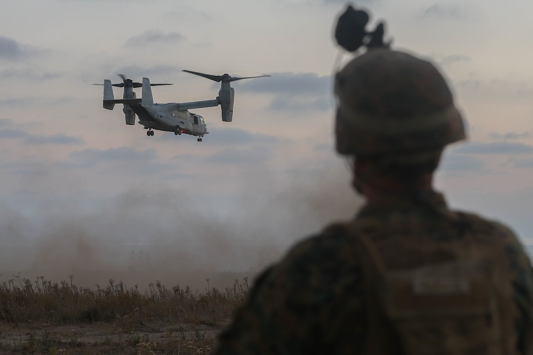 An U.S. Marine Corps MV-22 Osprey prepares for landing during a Marine Corps Combat Readiness Evaluation at Marine Corps Base Camp Pendleton, Calif., Oct. 20.