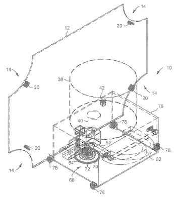 Rendering of USPat 10406417 of a hockey puck machine developed at the U.S. Air Force Academy.