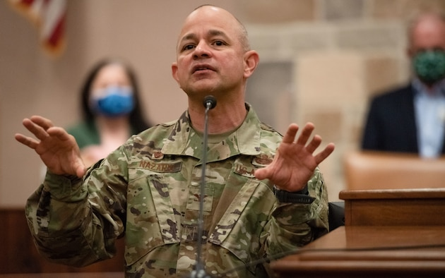 U.S. Air Force Col. Andres Nazario, 17th Training Wing commander, speaks to local media regarding Goodfellow Air Force Base's plans for dealing with COVID at the McNease Convention Center in San Angelo, Texas, Nov. 13, 2020. Nazario reminded the group how Goodfellow has adapted to COVID-19 and to stay safe by following the Centers for Disease Control and Prevention guidelines. (U.S. Air Force photo by Senior Airman Deven Schultz)