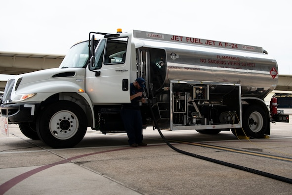 Rudy Losoya, 47th Logistics Readiness Flight aircraft services, operates a 3K commercial refueler on the flight line, on Nov. 9, 2020, Laughlin Air Force Base, Texas. This vehicle saves up to a minute on the fueling process per plane. (U.S. Air Force photo by Airman 1st Class David Phaff)