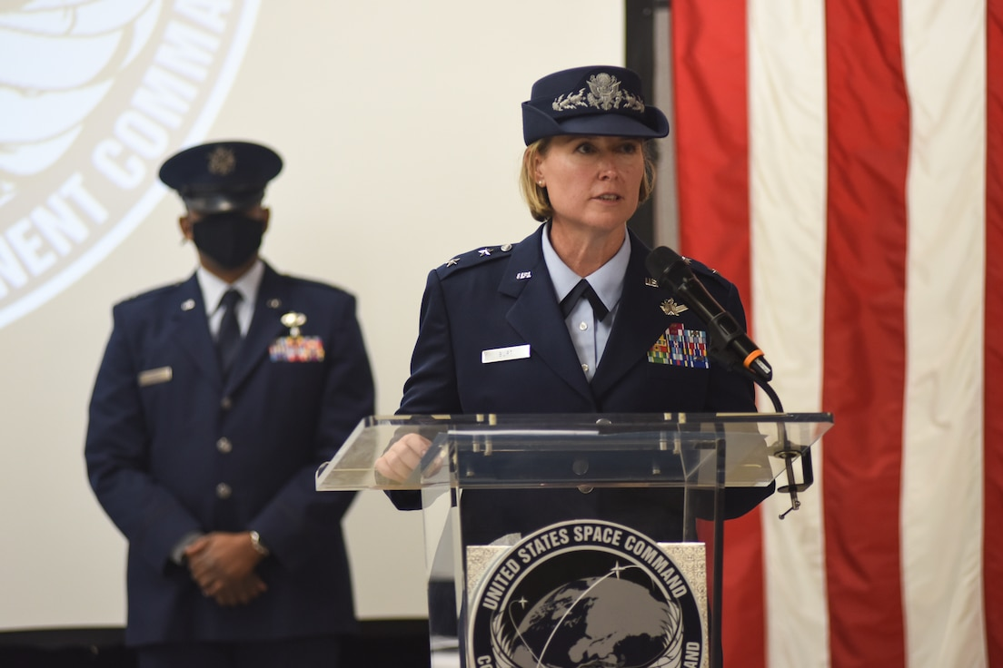 Just over a year after its activation, the Combined Force Space Component Command welcomed its newest commander in front of a mask-donned gathering of CFSCC staff, community members, partner-nation representatives and others during change of command ceremony at the Combined Space Operations Center.