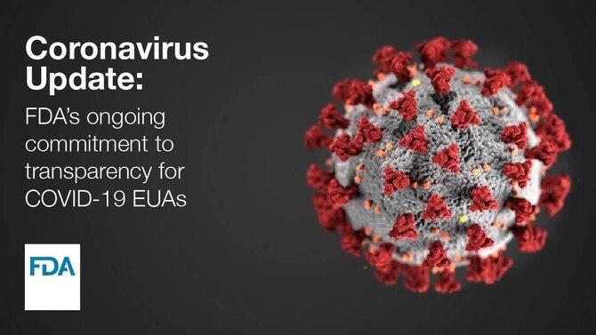 Image of coronavirus with text.