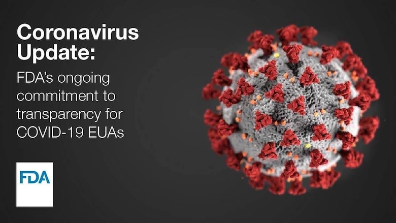 Image of coronavirus with text.