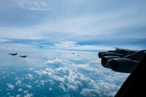 A B-52H Stratofortress from Barksdale Air Force Base, La., trains with Colombian Air Force KFIR fighter jets during the Colombian lead exercise Brother's Shield over Colombian airspace, Nov. 8, 2020.