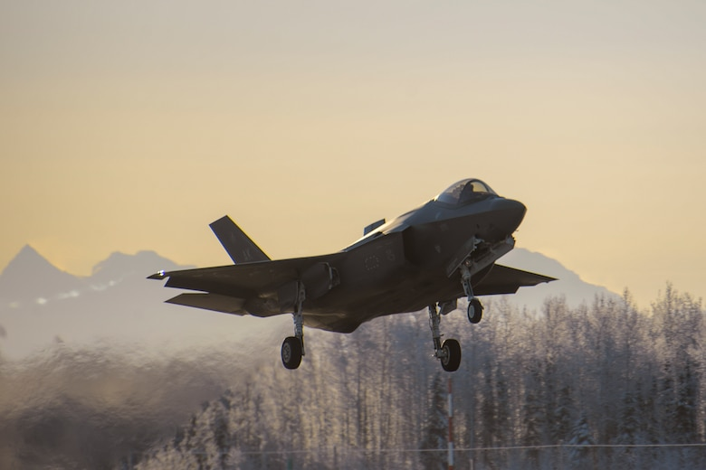 An F-35A Lightning II, assigned to the 356th Fighter Squadron, takes off during Arctic Gold 21-1 on Eielson Air Force Base, Alaska, Nov. 17, 2020. Arctic Gold 21-1 is a Phase I readiness exercise meant to prepare Eielson Airmen for a rapid mobilization of the F-35A. (U.S. Air Force photo by Senior Airman Beaux Hebert)