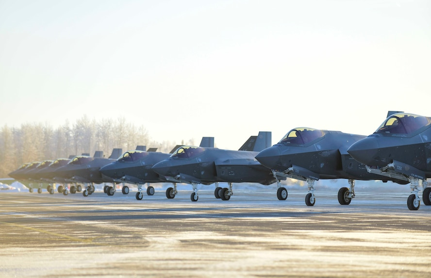 F-35A Lightning IIs assigned to the 354th Fighter Wing form up prior to take off at Eielson Air Force Base, Alaska, Nov. 17, 2020. Alaska is one of the most strategic locations in the world and will be home to the highest concentration of fifth generation aircraft in the Department of Defense. (U.S. Air Force photo by Senior Airman Keith Holcomb)