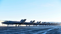 Twelve F-35A Lightning IIs form up prior to take off at Eielson Air Force Base, Alaska, Nov. 17, 2020. The 354th Fighter Wing conducted Arctic Gold 21-1, a Phase I readiness exercise designed to test the wing's ability to rapidly deploy it's F-35A fleet. (U.S. Air Force photo by Senior Airman Keith Holcomb)