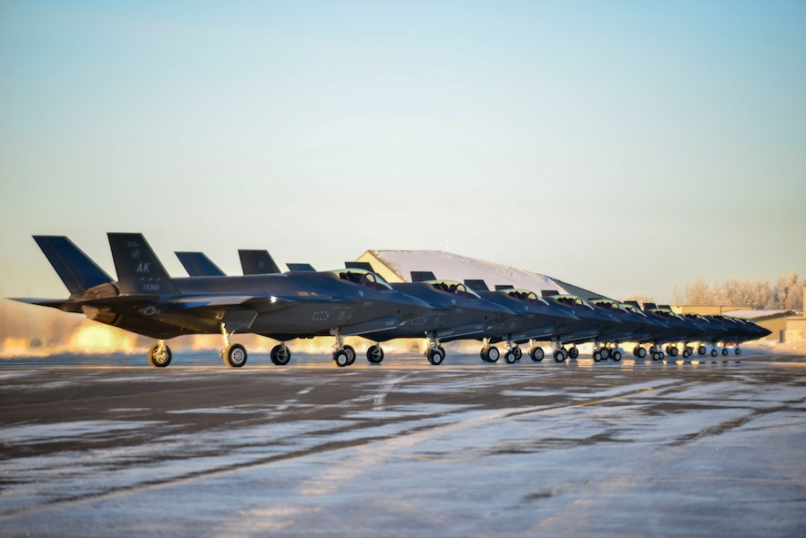 Twelve F-35A Lightning IIs assigned to the 356th Fighter Squadron assemble on the flightline during Arctic Gold 21-1 at Eielson Air Force Base, Alaska, Nov. 17, 2020.
