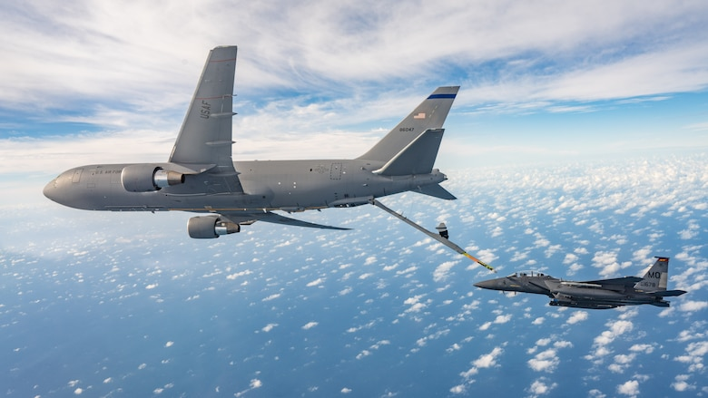 389th Fighter Squadron F-15E Strike Eagle refuels with a KC-46A during Checkered Flag 21-1.