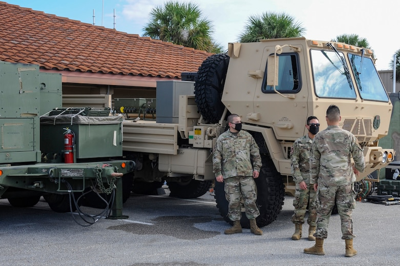 Airmen from the 729th Air Control Squadron pack up gear after at Patrick Air Force Base, Fla., after supporting NORAD mission during SpaceX launch.  The 729th ACS provided air tracking support for the Falcon 9 Crew-1 launch on Nov. 15, 2020. (U.S. Space Force Photo by 2nd Lt. Christian Little)