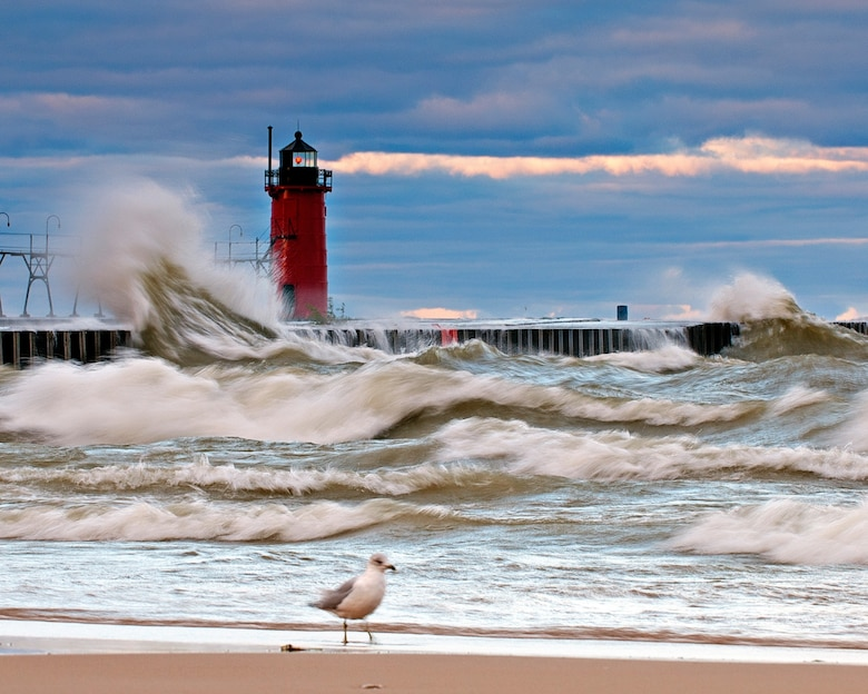 Fall storm at the South Haven Lighthouse in South Haven, Michigan.