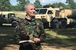 Capt. (Va.) Deb O'Neil-Lewis, a chaplain with the Virginia Defense Force, leads a field service during the Summer 2020 annual training season at Fort Pickett, Virginia.