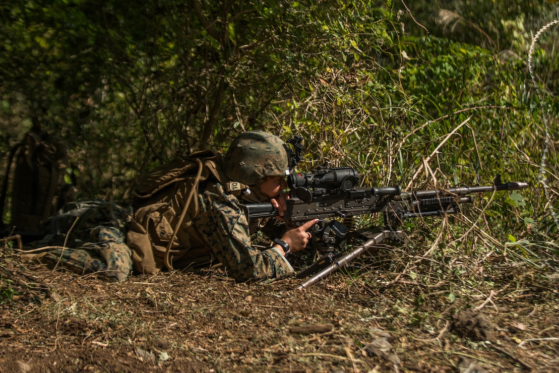 A U.S. Marine posts security during a Marine Corps Combat Readiness Evaluation at Camp Fuji, Japan, Oct. 29.