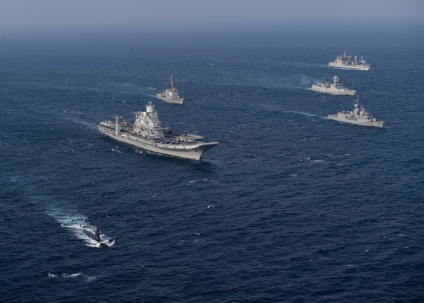 Ships from the Royal Australian navy, Indian navy, Japan Maritime Self-Defense Force, and the U.S. Navy participate in Malabar 2020.