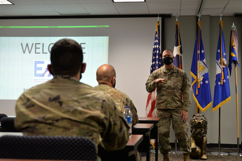 Enlisted leadership speaks to 136AW Airman