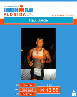 a poster of Raul Garcia during the run of Ironman Florida
