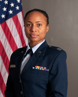 U.S. Air Force Capt. Angelica Frink Walker is pictured in an official photo July 31, 2020. Frink Walker, who currently serves as the 125th Fighter Wing Director of Equal Opportunity, will become one of only a handful of 125th Fighter Wing members to transition to the active-duty JAG Corps.  The milestone comes just 10 years after she became the fastest Airman to complete her career development courses, once she returned from technical training, during her time as an enlisted member at the 290th Joint Communications Support Squadron. (U.S. Air National Guard photo by Tech. Sgt. Chelsea Smith)