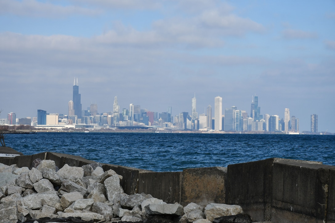 Lake Michigan and Chicago skyline as seen from Morgan Shoal, Chicago, Nov. 13, 2020.