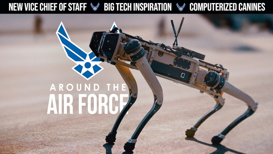 Today's look Around the Air Force highlights the service's new Vice Chief of Staff, Gen. David Allvin, the retirement of the longest serving Vice Chief of Staff, Gen. Stephen Wilson, a collaboration with Tesla towards an innovative future, & the implementation of computerized canines for advanced security operations. (Produced by Senior Airman Angelo Rosario)