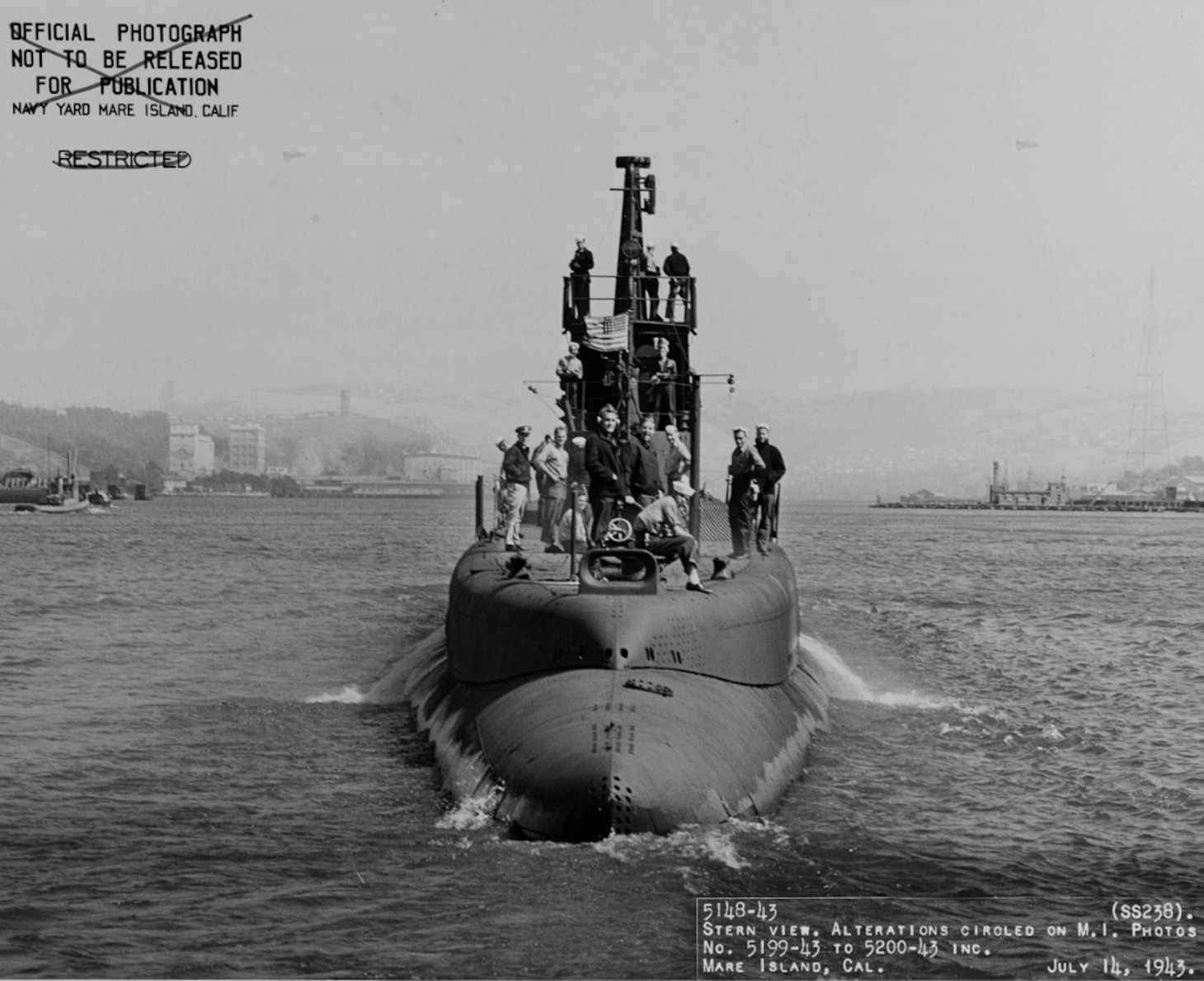 USS Wahoo (SS-238) is seen near Mare Island Navy Yard in California.