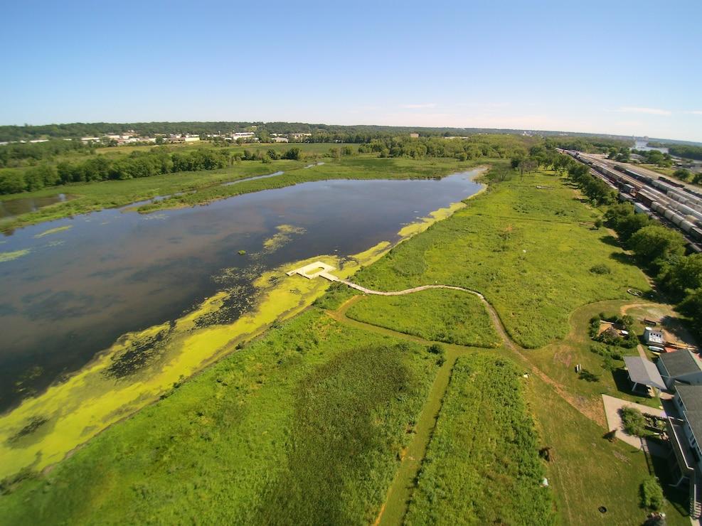 Aerial view of Nahant Marsh