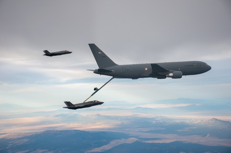 An F-35 refuels from a KC-46