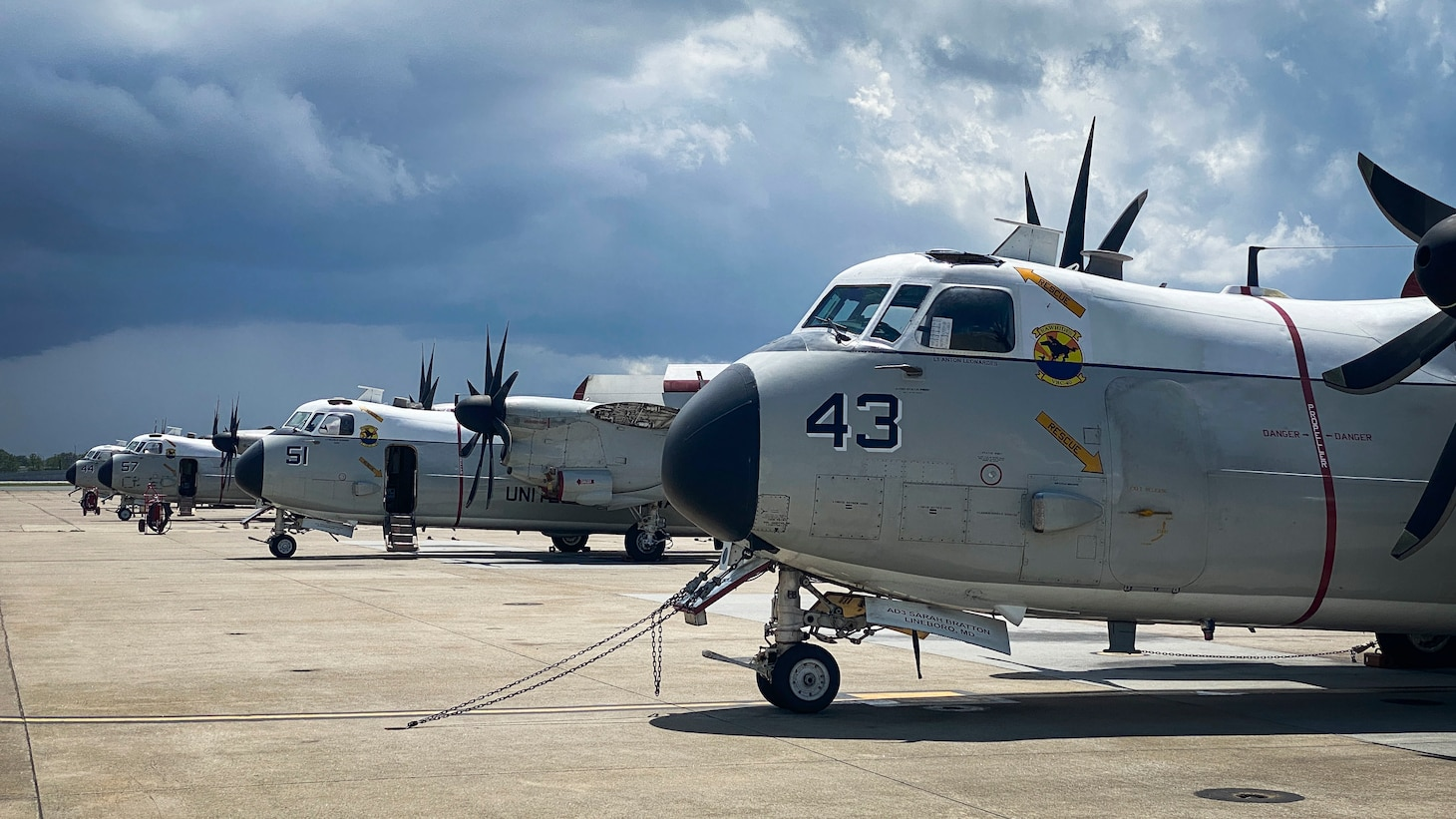 C-2 Greyhound aircraft assigned to the �Rawhides� of Fleet Logistics Support Squadron (VRC) 40 sit on the tarmac after returning home to Naval Station Norfolk, August 6, 2020.