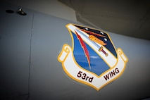 the 53d Wing patch on the side of an F-16