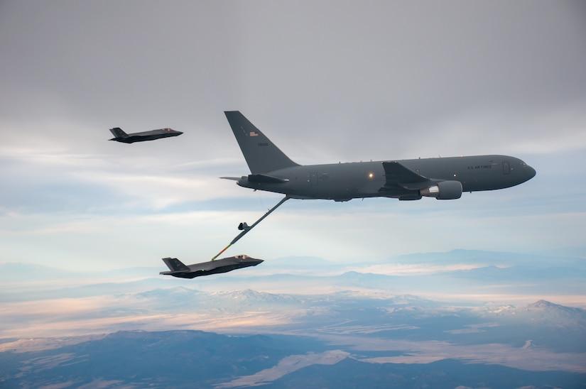 An F-35 refuels from a KC-46