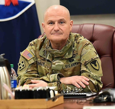 Gen. Ed Daly, commanding general of AMC, was briefed on ASC's current status in a socially distanced setting in the command's main conference room.  Others from around ASC headquarters and the command's remote locations called in and attended as virtual participants.