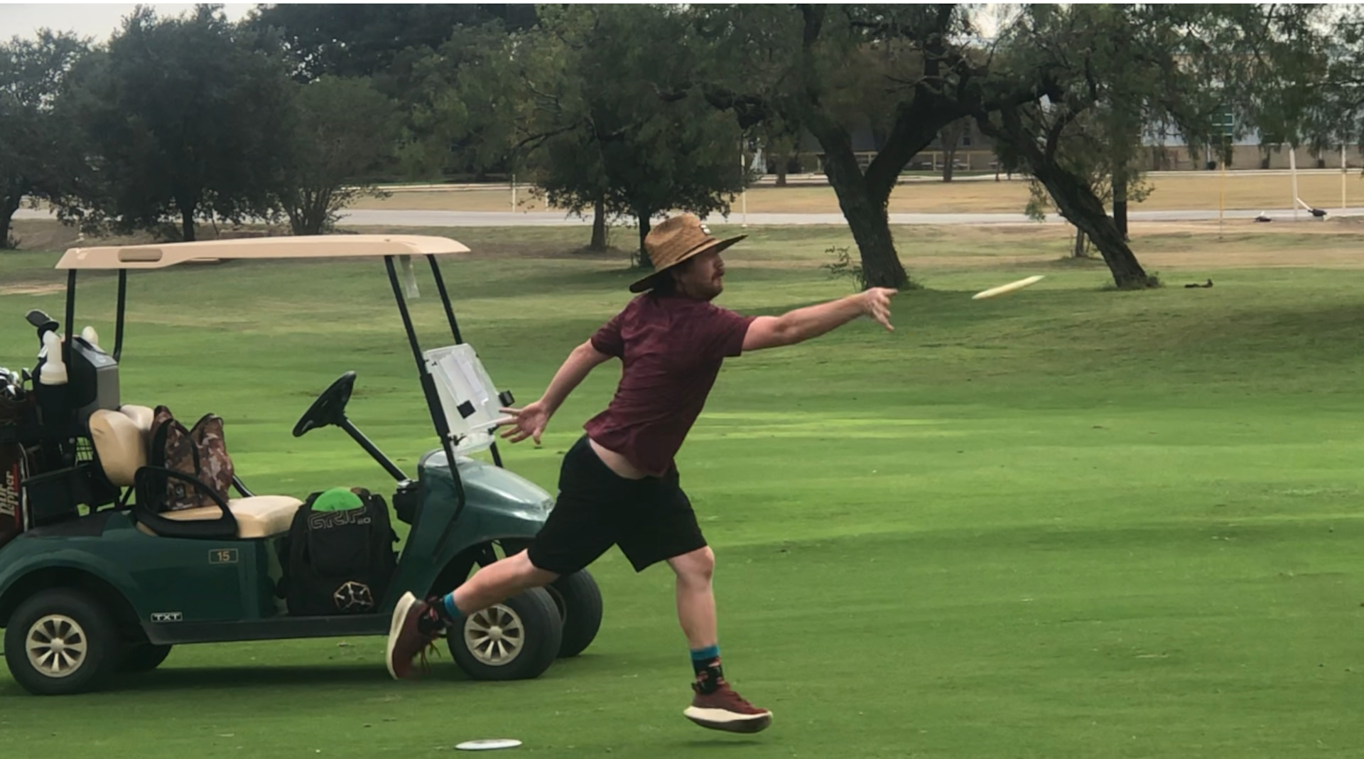 Taylor McCarty releases a disc during a disc golf tournament at the Joint Base San Antonio-Fort Sam Houston Golf Course Oct. 23. The first ever disc golf tournament for JBSA drew 38 players.