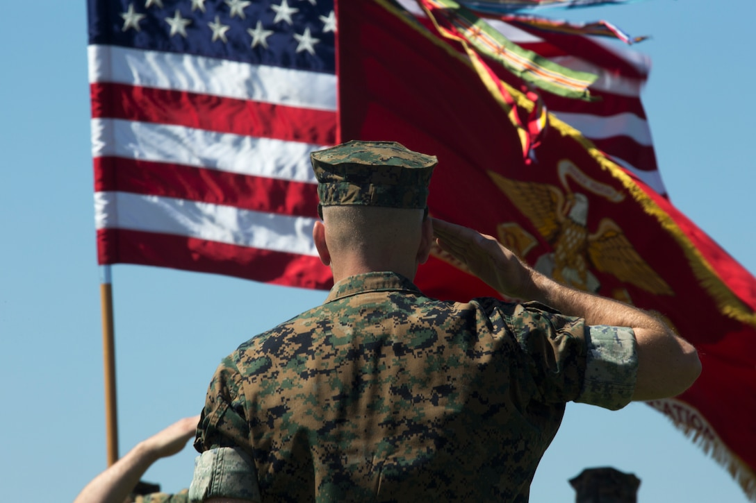 "A U.S. Marine salutes the American flag as ""Star Spangled Banner"" plays during Marine Wing Communications Squadron 48's change of command ceremony at Marine Corps Air Station Miramar, Calif., June 13."