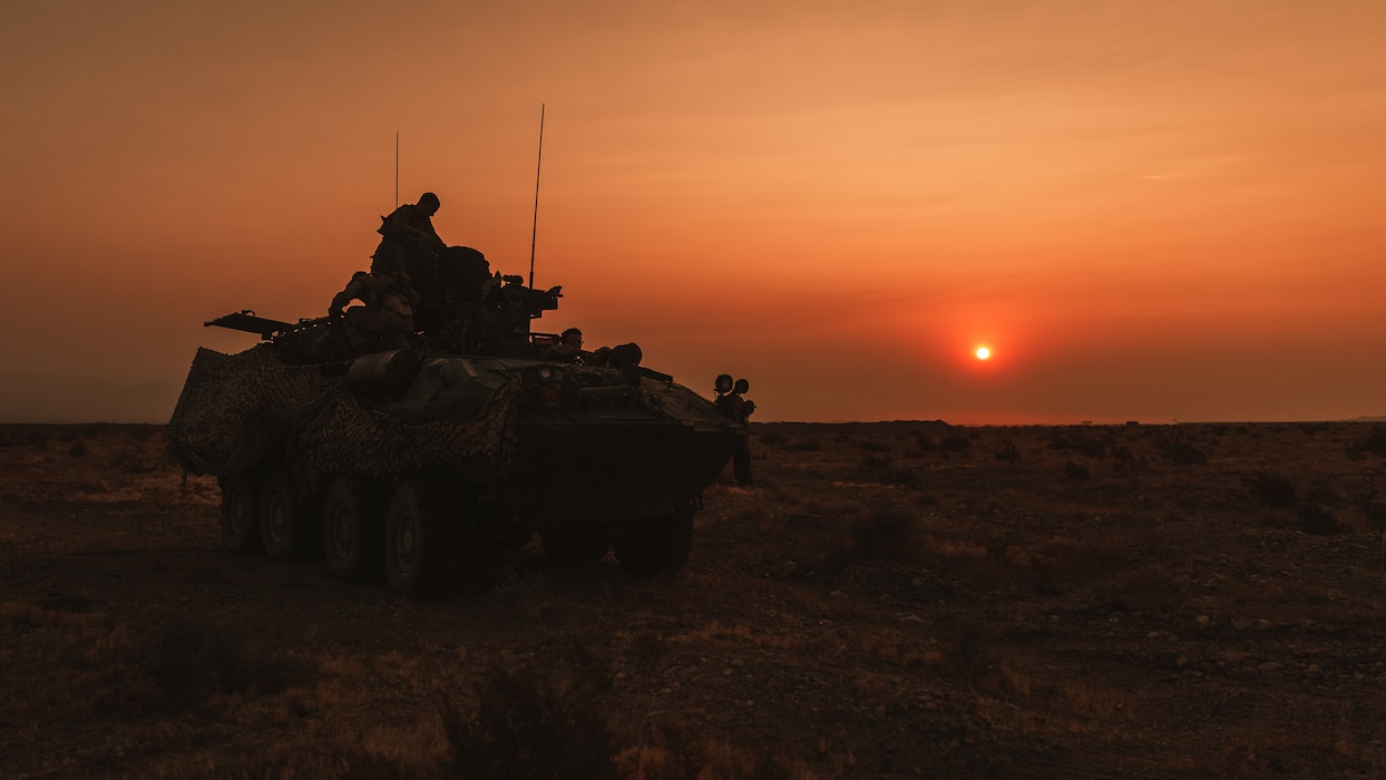 U.S. Marines with 3rd Light Armored Reconnaissance Battalion, 1st Marine Division operate a Light Armored Vehicle during a Marine Corps Combat Readiness Evaluation (MCCRE) at Marine Corps Air Ground Combat Center Twentynine Palms, California, September 17, 2020.