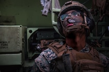U.S. Marine Corps Cpl. Mark Trevino, a transmissions systems operator with 2nd Battalion, 4th Marine Regiment, 1st Marine Division conducts a mechanized raid at Marine Corps Base Camp Pendleton, California on Jan. 29, 2020.