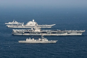 The U.S., Indian, Roaly Australian, and Japanese Maritime Self-defense Force participate in Malabar 2020 Phase II.