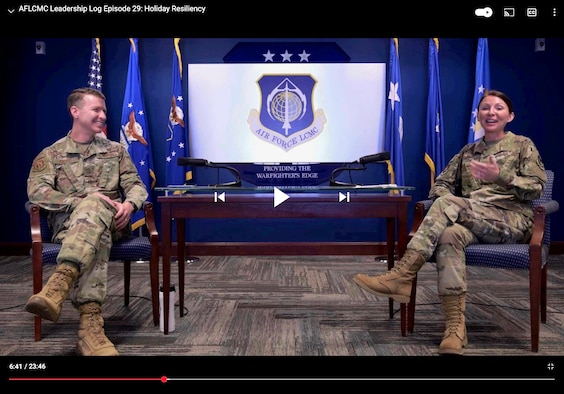 A screenshot of Chief Master Sgt. Troie Croft, AFLCMC Command Chief, and Senior Master Sgt. Elise Phillips, AFLCMC First Sergeant, sitting side by side during a Leadership Log video podcast.