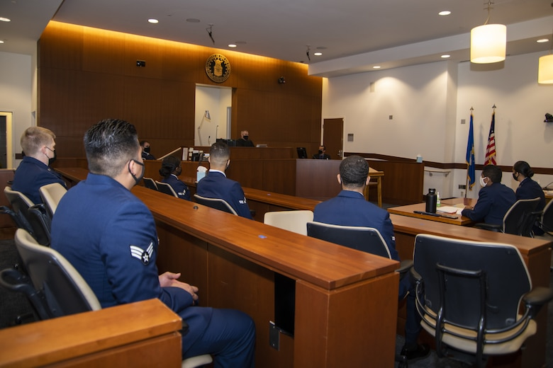 U.S. Air Force service members act as a panel in a mock court martial at Joint Base Andrews, Md., Oct. 30, 2020. The simulated court martial allowed OSI and SFOSI agents to testify and be cross examined in front of a panel.