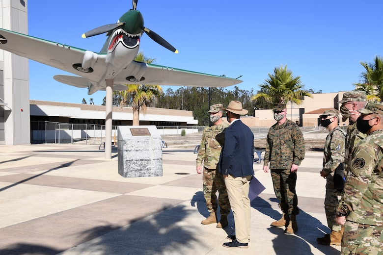 United States Space Command leadership and base leadership prepare to tour the future Combined Force Space Component Command headquarters building Nov. 16, 2020, at Vandenberg Air Force Base, Calif.