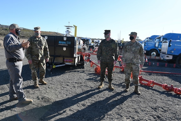 United States Space Command leadership and base leadership receive a briefing at the Gaseous Nitrogen pumper truck area Nov. 16, 2020, at Vandenberg Air Force Base, Calif.