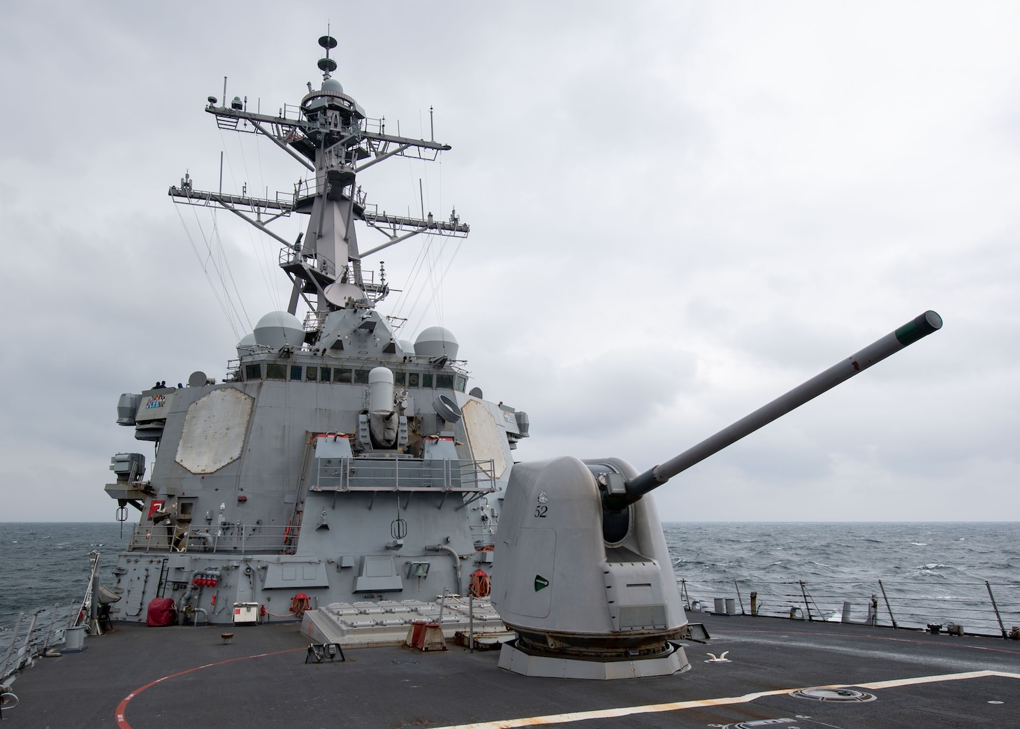 TAIWAN STRAIT (Nov. 20, 2020) – The Arleigh Burke-class guided-missile destroyer USS Barry (DDG 52) conducts routine underway operations in the Taiwan Strait. Barry is assigned to Destroyer Squadron (DESRON) 15, the Navy's largest forward-deployed DESRON and the U.S. 7th Fleet's principal surface force, forward-deployed to the U.S. 7th Fleet area of operations in support of a free and open Indo-Pacific. (U.S. Navy photo by Mass Communication Specialist Seaman Molly Crawford)