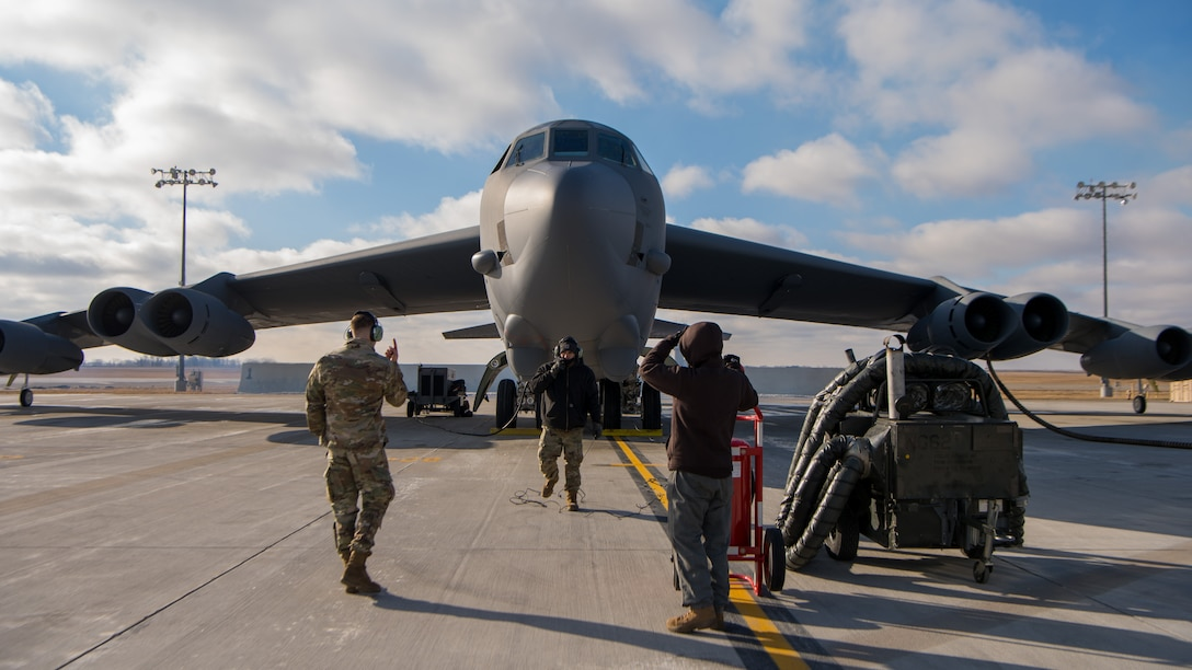 A B-52H Stratofortress sits on the flightline on Nov. 20, 2020, at Minot Air Force Base, North Dakota. U.S. Central Command is commmited to preserving and protecting the freedom of navigation and the free flow of commerce throughout the region. While the United continues to have robust defensive capapbilities throughout the U.S. Central Command area of responsibility, any potential adversary should understand that no nation on earth is more ready and capable of rapidly deploying additional combat power in the face of any aggression. (U.S. Air Force photo by Airman 1st Class Jesse Jenny)