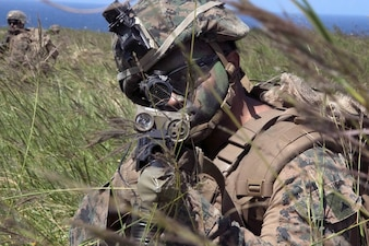 IE SHIMA, Okinawa — Sgt. Cal Cushing-Hurley and his squad from the Camp Lejeune, N.C.-based 1st Battalion, 2nd Marines, could hardly contain their enthusiasm for their first Pacific exercise — a simulated airfield seizure on a tiny island off Okinawa's northwest coast.
