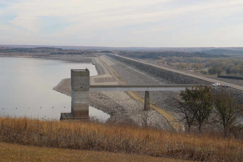 A lake side view of the Tuttle Creek dam at Tuttle Creek Lake near Manhattan, Kan., October 31, 2020.