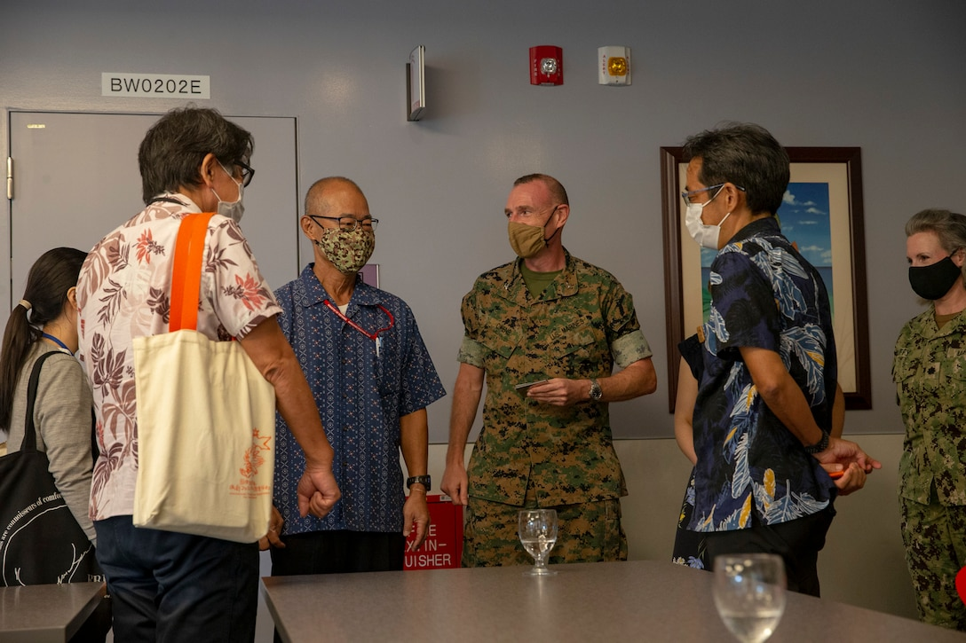 Okinawa Prefectural Government representatives met with Marine Corps Installations Pacific leadership and medical health professionals to discuss COVID-19 related information on Camp Foster Naval Hospital, July 15.