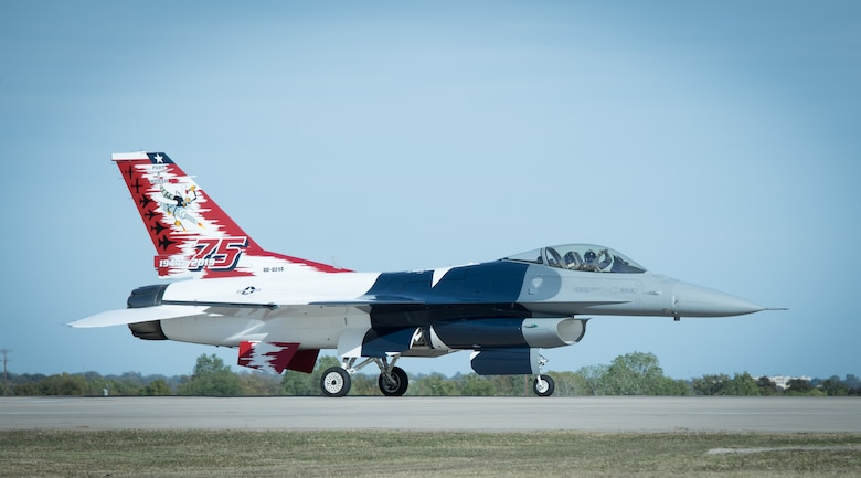 This F-16 arrives fully dressed to U.S. Naval Air Station Joint Reserve Base Fort Worth, Texas on November 4, 2020. The Texas tribute is in appreciation for the support of the community and state. (U.S. Air Force photo by Jeremy Roman)